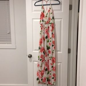 Lush brand floral maxi dress, with side slit. SM
